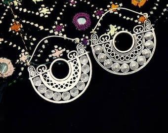 Silver plated Chandra earrings/boho earrings/Tribal