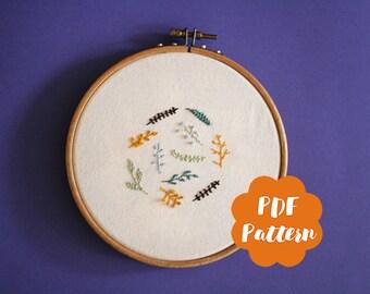 Winter Flowers - PDF pattern embroidery - modern hand digital download