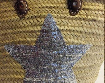 Handmade basket Star sequins silver or gold