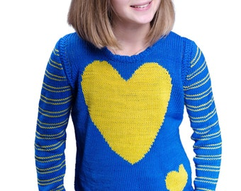 Hand knit kids sweater Heart pattern pullover Kids jumper Unisex kids pullover sweater Striped long sleeves cotton top
