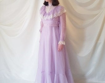 Vintage 1970s Victorian Style Full-Length Chiffon & Lace Prairie Dress | Prom Dress | Gothic Dress | In Lilac | Purple | Cream