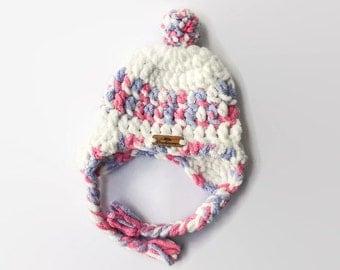 Crochet Baby Hat - Trapper Hat - Crochet Hat - Baby Hat - Toddler Hat - White Hat w/Blue & Pink - Baby Shower gift - Winter Hat - bulky Hat