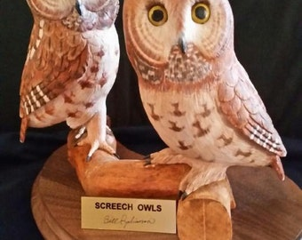 Owl Carving, Hand Carved Screech Owls, Birthday Gift, Father's Day Gift, Wedding Gift