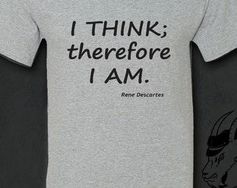 Philosophy Tshirt, Philosophy, Descartes, Literary Gifts, Inspirational, Socrates, Aristotle, Plato, Literature, Gift for Reader, Tshirt