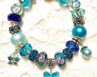 Blue Butterfly, European Style Charm Bracelet