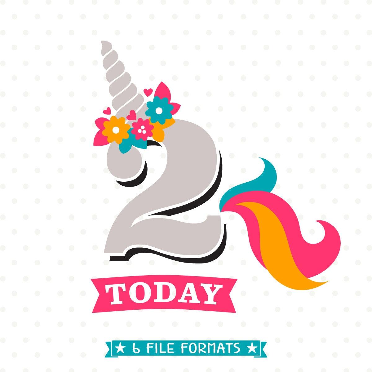 Unicorn Birthday SVG 2nd Birthday SVG Birthday Iron On File