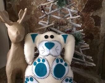 Handcrafted Felt stuffed animal and decor - Rally Rabbit