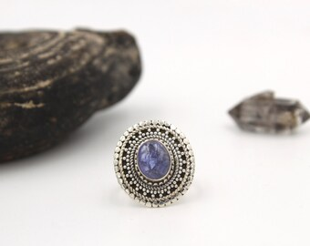 BOHO Blue Tanzanite & Sterling Silver Ring s US 6.5 / en 53 - Rough Tanzanite Silver Ring - Genuine natural Tanzanite - December Birthstone