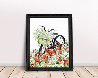 Vintage Flower Bike Print, Floral Print, Vintage Design Print, Wall Art, Illustration Print