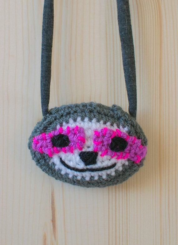 Disco Sloth Crocheted Necklace