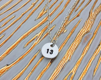 Hand Stamped Lucky Number Necklace