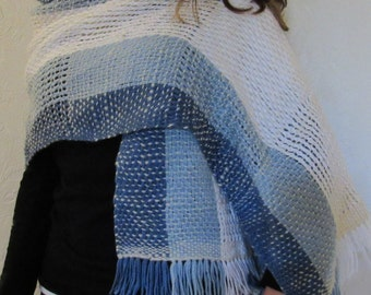 Hand Woven Blue and White Rectangle Shawl with Hand-Spun Yarn