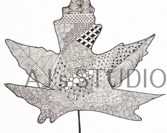 Beautiful leaf zentangle, Adult coloring page, Digital Print