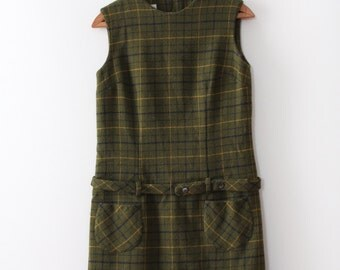 vintage 1960s plaid dress // 60s green wool plaid shift dress with belt