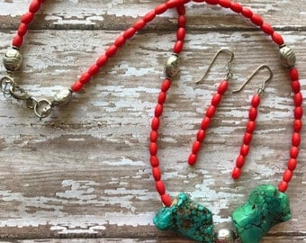 Coral and Turquoise necklace set, Tribal Jewelry, Pow Wow Jewelry, Gemstone jewelry, Handmade Jewelry, Bohemian Jewelry,
