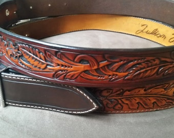 Handmade tooled/personalized men's belt