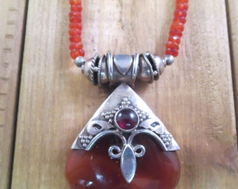 Vintage Jasper Necklace Pendant 925 Beaded