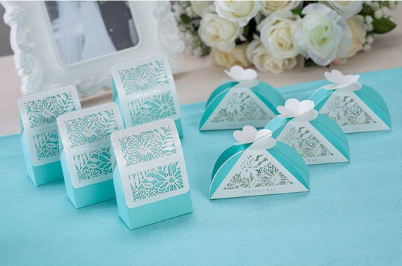 50 Tiffany Blue Wedding Favor Boxesdiy Wedding Favors For Guests