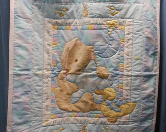 Baby Quilt with rabbit holding a star
