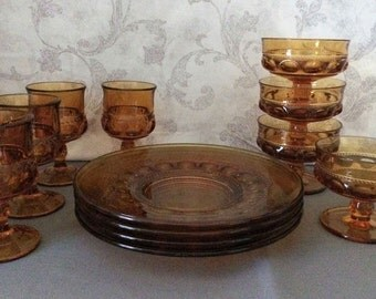 12 Piece Set - Amber Wine Glass, Sherbet Dish & Salad Plate - Kings Crown (No. 77) - Thumbprint - by Indiana Glass Colony Glass