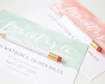 Pencil us in! Save the Date Invitation Watercolour Dip ~ SAMPLE