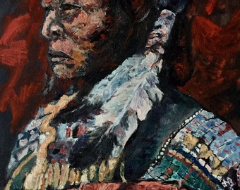 Native american in traditional wear-impressive oil painting portrait-Indian-Dim. 24 x 30 cm