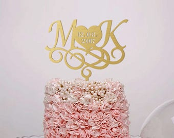 Wedding Cake Topper Monogram Cake Topper Custom Cake Topper Letter Gold Initials Rustic Silver Cake Topper Engagement Cake Topper Wedding