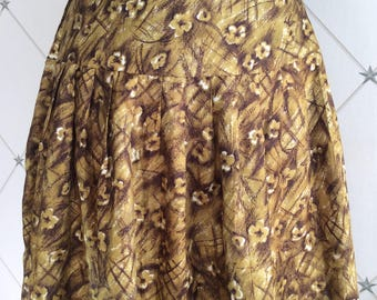 1950's Tricel Print Skirt in a Deep Colour Olive and Brown Abstract Floral Print Skirt .