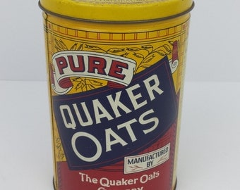 Vintage Quaker Oats White Rolled Oats Metal Tin 1984 | Replica of 1896 Art | 19th Century | Limited Edition Collectible