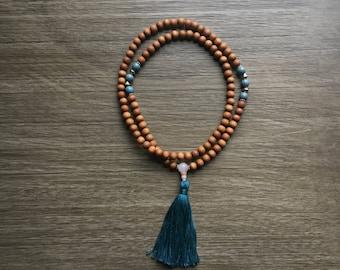 Sandalwood and ocean blue porcelain glazed mala beads with rose quartz guru bead and turquoise tassel, Mala necklace