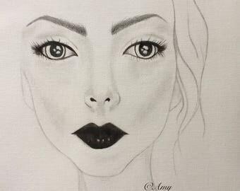 "10 x 8 inch ""Grace"" Original Pencil Drawing, Sketch, Watercolour, Art, Artwork, Fine Art, Illustration, Modern, Feminine, Woman"
