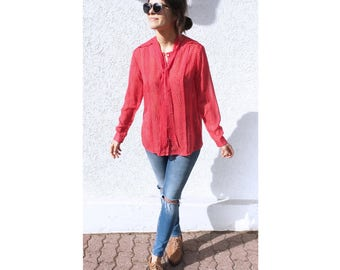 Bow blouse / red / white dots