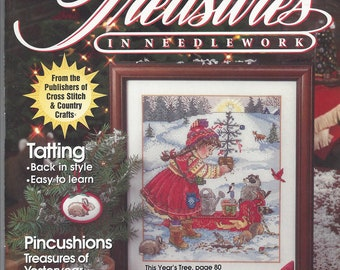 TREASURES IN NEEDLEWORK-Better Homes and Gardens-Summer 1993-Tatting-Pincushions-Cross Stitch-Evening Bag-This Year's Tree-Christmas