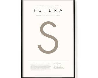 "Futura Poster, Screen Printed, Archival Quality, Wall Art, Poster, Designer Gift, Typography Print, 24"" x 36"""