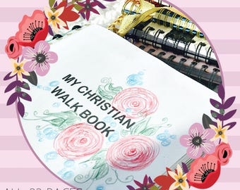 Complete Set: My Christian Walk Book Faith Planner Journal Devotional Agenda Calendar Tracker Prayer Bible  Inserts letter size ALL IN ONE