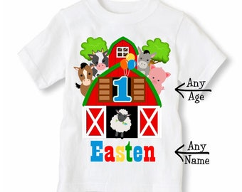 Farm Animals Birthday Shirt - Barnyard Shirt Personalized With Name and Age