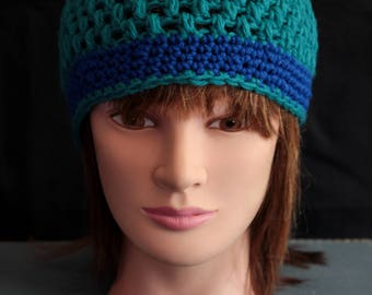 Blue and Teal Crochet Beanie (E4)