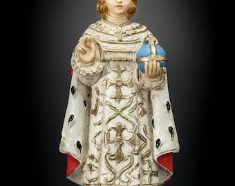Stunning Infant Jesus of Prague Antique Plaster Statue Lord Christ Figurine 4