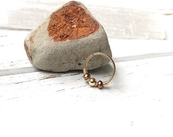 Small gold hoop earring, 14k gold nose ring, Hoop gold cartilage earring, gold helix piercing jewelry 20g gold tragus hoop, 10mm beaded hoop