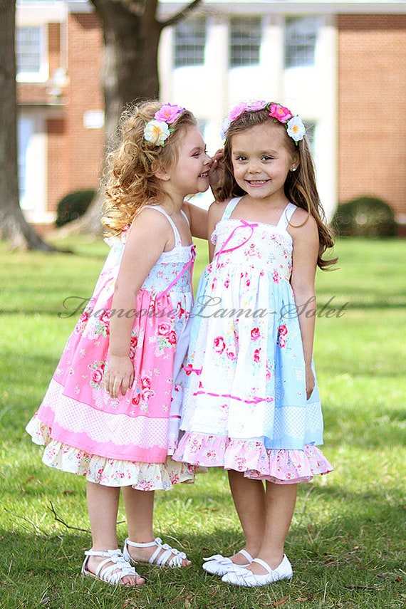 Country chic blue flower girl dress, Romantic shabby country patchwork dress, birthday girl formal dress, Easter tea party twirl dress