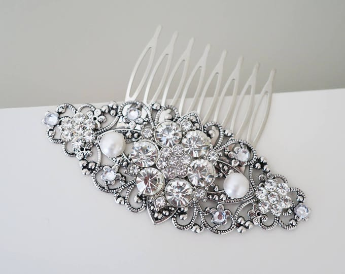 Crystal Flower Bridal Hair Comb with Pearl accents