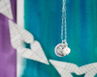 Wax Seal Heart Necklace with Freshwater Potato Pearl, Ready to Ship  {Hand Stamped PMC 960 + Sterling Silver}