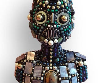 Folk Art Steampunk Bead Bust Assemblage Robot Alien Sculpture