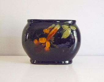 Weller Louwelsa Vase, 1910s Fine Art Ceramics, Hand Painted Pillow Vase, Antique Art Pottery, Brown Glaze Pottery, Arts and Crafts Edwardian