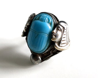 Antique Art Deco Egyptian Revival Pharaoh Blue Beetle Scarab Silverplate Statement Ring - Wow!