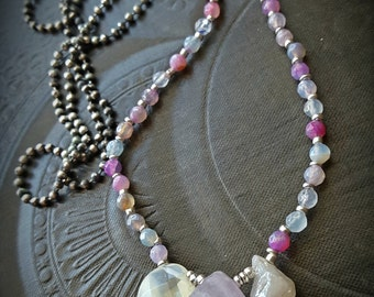 Amulet, Quartz, Mystic Quartz, Agate, Sterling Silver, Ball Chain, Gemstone, Long Beaded Necklace
