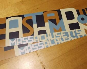 Easthampton, Massachusetts bumper stickers (2 of 'em) - western mass, pioneer valley, ehamp, cottage street, typography