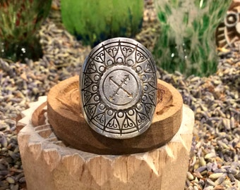 Explore Mandala Ring Fully Adjustable Silver Boho Festival Urban Hippie