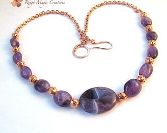 Amethyst Necklace, February Birthstone Jewelry, Purple Gemstone, Genuine Semi Precious Stone, Copper Chain, Feb Birthday Gift for Woman N316