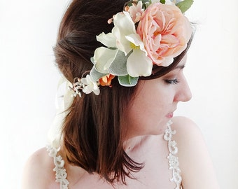 flower crown headband, bridal flower crown, blush and orange floral crown, pink flower crown, ranunculus and dogwood, lambs ear foliage